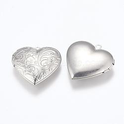 Pendentifs médaillon en 304 acier inoxydable, breloques cadre de photo pour colliers, cœur, couleur inoxydable, 29x29x7mm, trou: 2 mm; dimensions intérieures: 16.5x21.5 mm(X-STAS-G146-14P)