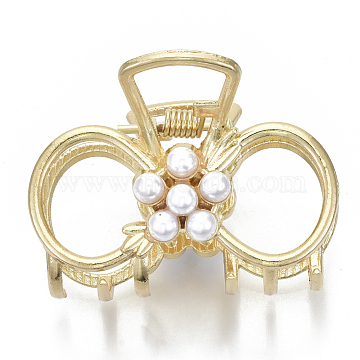 Alloy Claw Hair Clips, with ABS Plastic Imitation Pearl, Long-Lasting Plated, Bowknot, Light Gold, White, 35x50x43mm(PHAR-N004-012)