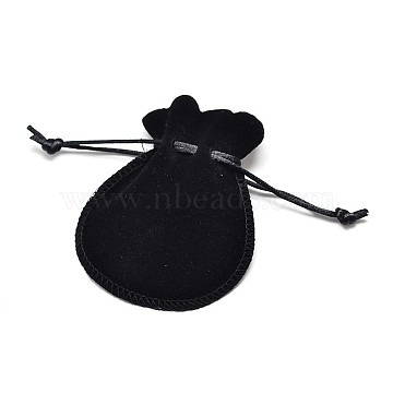 Velvet Bags Drawstring Jewelry Pouches, for Party Wedding Birthday Candy Pouches, Black, 16x13cm(X-TP-O002-C-06)