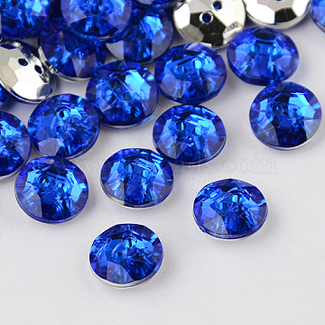 2-Hole Taiwan Acrylic Rhinestone Flat Round Buttons, Faceted & Silver Plated Pointed Back, Blue, 11.5x4.5mm, Hole: 1mm(BUTT-F015-11.5mm-04)