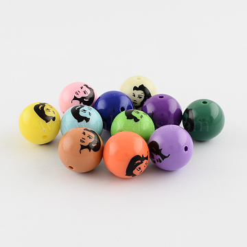 Opaque Chunky Gumball Bubblegum Printed Acrylic Round Beads, Mixed Color, 19.5x19mm, Hole: 2mm(SACR-Q097-M)