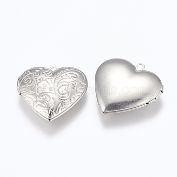 304 Stainless Steel Locket Pendants, Photo Frame Charms for Necklaces, Heart, Stainless Steel Color, 29x29x7mm, Hole: 2mm; Inner Size: 16.5x21.5mm(X-STAS-G146-14P)