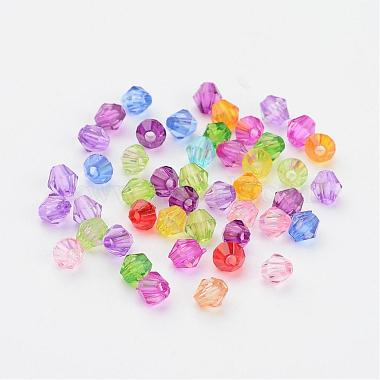 Mixed Color Chunky Dyed Transparent Acrylic Faceted Bicone Spacer Beads for Kids Jewelry(X-DBB4mm)-2