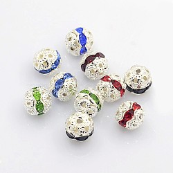 Brass Rhinestone Beads, Grade A, Silver Color Plated, Round, Mixed Color, 8mm(X-RB-A011-8mm-S)