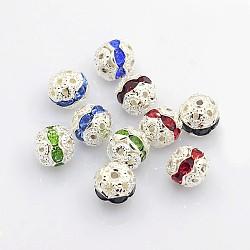 Perles en laiton de strass, Grade a, de couleur métal argent, rond, couleur mixte, 8mm(X-RB-A011-8mm-S)