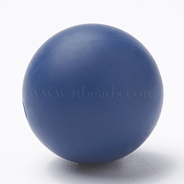 Food Grade Environmental Silicone Beads, Chewing Beads For Teethers, DIY Nursing Necklaces Making, Round, Marine Blue, 12mm, Hole: 2mm(X-SIL-R008B-51)