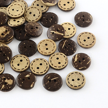 24L(15mm) CoconutBrown Flat Round Coconut 2-Hole Button