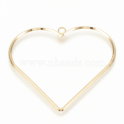 Brass Pendants, Heart, Real 18K Gold Plated, 49x52.5x1.5mm, Hole: 2.5mm