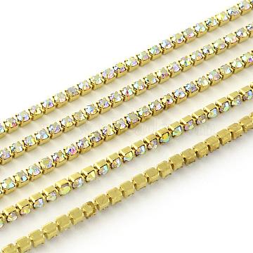 Nickel Free Raw(Unplated) Brass Rhinestone Strass Chains, Rhinestone Cup Chain, 1440pcs rhinestone/bundle, Grade A, Crystal AB, 3mm, about 16.73 Feet(5.1m)/bundle(CHC-R119-S12-16C)