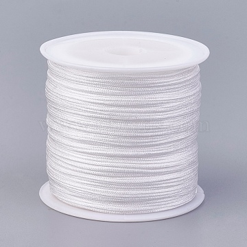 Nylon Thread, Nylon String Jewelry Bead Cord for Custom Woven Jewelry Making, White, 0.8mm, about 49.21 yards(45m)/roll(NWIR-K022-0.8mm-33)
