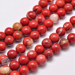 """Chapelets de perles en jaspe rouge naturel, rond, grade AB, rouge, 4mm, trou: 1mm; environ 95 pcs/chapelet, 15.5""""(G-F348-02-4mm)"""
