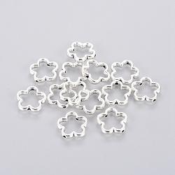 Cadres de perles de style tibétain, fleur, idéal pour la fabrication de cadeaux pour la fête des mères, sans plomb et sans cadmium, argent antique, environ 15 mm de diamètre, épaisseur de 2mm, Trou: 1.5mm(X-LF11215Y)