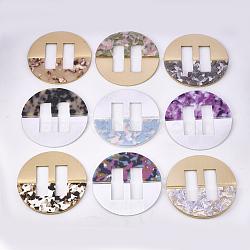 Boucles en aluminium et acétate de cellulose (résine), plat rond, couleur mixte, 80.5x4.5~5mm, Trou: 41x14mm(ALUM-S016-10B)