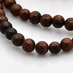 "Acajou naturel perles rondes obsidienne brins, 6mm, trou: 1mm; environ 61 pcs/chapelet, 15.7""(G-N0120-20-6mm)"