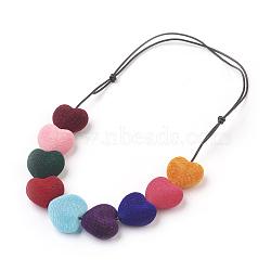 """Colliers avec bretelles en cuir de vachette, avec des perles acryliques, 5.6""""~8.3"""" (14.3~21 cm)(NJEW-JN02221)"""
