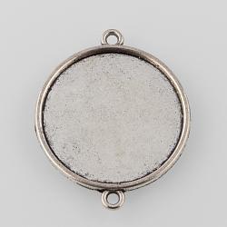 Настройки разъем сплава кабошон тибетском стиле, чашки безель с краем, плоские круглые, Старинное серебро, лоток: 25 мм; 34x28x2 мм, отверстия: 2 mm(X-TIBE-M022-14AS)