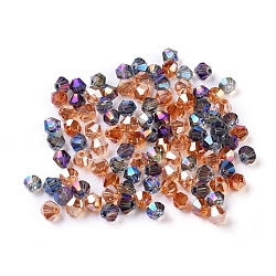 Perles de verre électrolytique à facettes biconiques, pour bricolage, arc-en-ciel plaqué, couleur mixte, 4x4.5mm, Trou: 1mm
