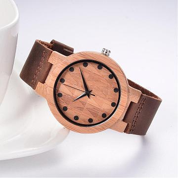 Leather Wristwatches, with Wooden Watch Head and Alloy Findings, Camel, 255x24x2.5mm; Watch Head: 54.5x48x12mm, Watch Face: 37mm(WACH-K008-14)