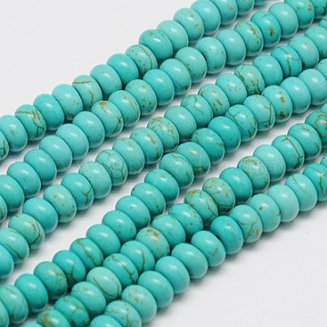 Synthetic Turquoise Beads Strands, Dyed, Rondelle, Turquoise, 6x3mm, Hole: 1mm; about 115pcs/strand, 15.5inches(X-TURQ-G109-6x3mm-06)