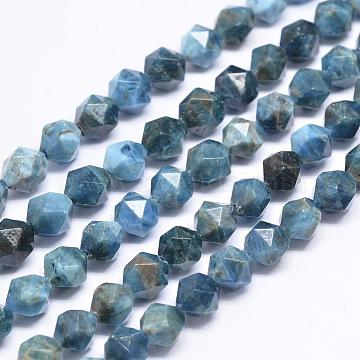 Natural Apatite Beads Strands, Star Cut Round Beads, Faceted, 8x8mm, Hole: 1mm; about 50~51pcs/strand, 15.74 inches(G-N0313-06-8mm)