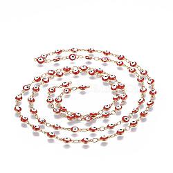 304 chaînes en acier inoxydable émaillé, soudé, rond et plat avec des mauvais œil, or, rouge, 9x4.5x2.5~3mm(CHS-P006-02G-01)