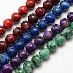Natural Labradorite Beads Strands, Dyed & Heated, Round, Mixed Color, 6mm, Hole: 1mm; about 62pcs/strand, 15.3''(39cm)