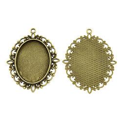 Supports de pendentif de cabochon oval en alliage de style tibétain, sans plomb et sans cadmium et sans nickel, bronze antique, plateau: 40x30 mm; 61x48x2 mm, Trou: 3mm(X-TIBEP-S231-01AB-NR)