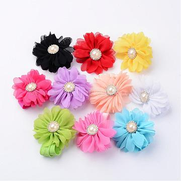 Fashionable Elastic Baby Headbands, Hair Accessories, Cloth Flower with Rhinestones and Imitation Pearl, Mixed Color, 110mm; flower: about 68mm in diameter, 10pcs/set(DIY-X0271-04)