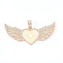 Alloy Pendant Cabochon Settings, with Crystal Rhinestone, Cadmium Free & Lead Free, Heart with Wing, Light Gold, Tray: 26.5x32.5mm, 47.5x117.5x6mm, Hole: 15x7mm
