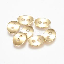 Bouton en 304 acier inoxydable, ovale, or, 13.5x10.5x1.5mm, Trou: 2mm(STAS-K149-18G)