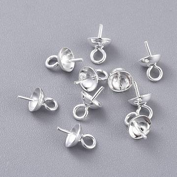 304 Stainless Steel Cup Pearl Peg Bails Pin Pendants, For Half Drilled Beads, Silver, 8x5mm, Hole: 1.8mm; Pin: 0.8mm(STAS-K210-09A-S)