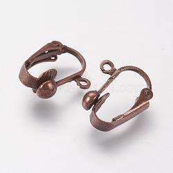 Brass Clip-on Earring Findings, Nickel Free, Red Copper, 17x14x7mm, Hole: 1mm(X-KK-E491-R-NF)