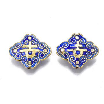Handmade Cloisonne Beads, Enamel, Rhombus, Blue, 17.5x20.5x6mm, Hole: 1mm(CLB-Q001-01A)