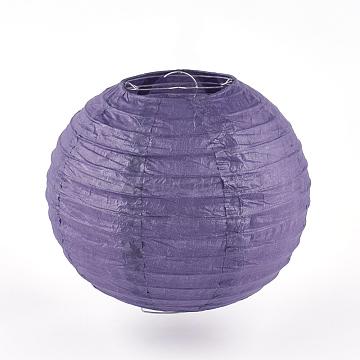 Paper Ball Lantern, with Iron Findings, Round, SlateBlue, 20cm(X-AJEW-S070-01B-02)