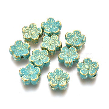 Alloy Beads, Flower, Lead Free & Cadmium Free, Golden & Green Patina, 8x8x3.3mm, Hole: 1.4mm(PALLOY-L222-058GGP-RS)