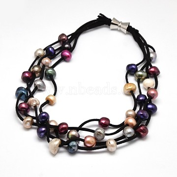Luxurious Women's Pearl Multi-strand Necklaces, with Wool Cord and Brass Clasps, Black, 19.2 inches(NJEW-L345-N12)