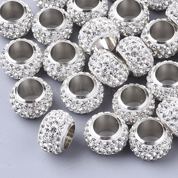 Polymer Clay Rhinestone Beads, with Platinum Tone Brass Single Cores, Large Hole Beads, Rondelle, Crystal, PP13(1.9~2mm),  4 Rows Rhinestone; 14x9mm, Hole: 8mm(X-RB-S055-14)