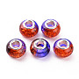 Crackle Two Tone Resin European Beads, Large Hole Beads, with Silver Tone Brass Double Cores, Rondelle, Dark Violet, 14x9.5mm, Hole: 5mm