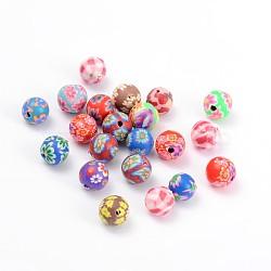 Perles en pâte polymère manuel, rond, couleur mixte, environ 8 mm de diamètre, Trou: 1mm(X-FM8mmY)