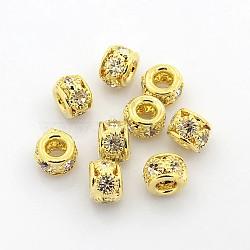 Perles en laiton de strass, Grade a, rondelle, métal couleur or, cristal, 8x6mm, Trou: 2.5~3.5mm(X-RB-B071-8mm-A01G)