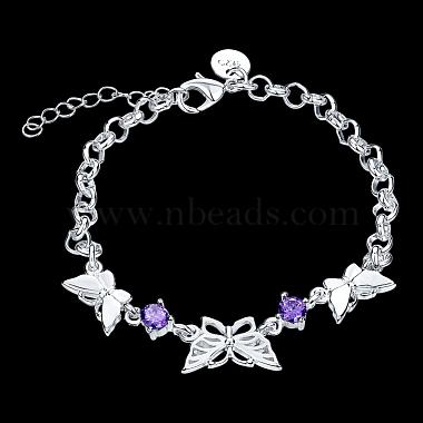 Brass Butterfly Link Bracelets(BJEW-BB17063)-2