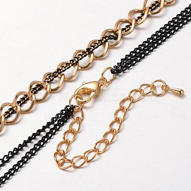 Golden Tone Iron Curb Chains and Brass Twisted Chains(NJEW-J023-01)-3