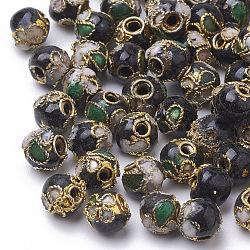 perles en cloisonné main, ronde en filigrane, noir, 5~5.5 mm, trou: 1~1.5 mm(CLB6mmC03)