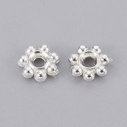 Séparateur perles en plastique CCB, fleur, argenterie, 4x1mm, Trou: 1mm(CCB-F004-17S)