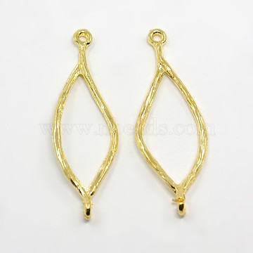 Tibetan Style Alloy Oval Links connectors, Lead Free & Nickel Free, Golden, 44x14x1.5mm, Hole: 1.5mm(X-TIBEP-A10954-G-FF)