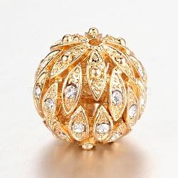 Alloy Rhinestone Round Filigree Hollow Beads, Filigree Ball, Long-Lasting Plated, Light Gold, 18.5mm, Hole: 2mm(X-PALLOY-I113-19LG)