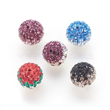 Austrian Crystal Beads, Pave Ball Beads, with Polymer Clay Inside, Round, Mixed Color, 12mm, Hole: 1mm(SWARJ-SFR12MM)