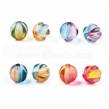 Two Tone Transparent Spray Painted Acrylic Corrugated Beads, Round, Mixed Color, 7.5x8x7.5mm, Hole: 1.5mm(X-ACRP-T005-52-M)
