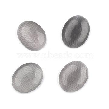 Cat Eye Cabochons, Oval, Gray, 25x18x6~7mm(CE063-18X25-34)