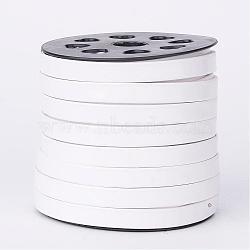 Cordon plat en cuir PU, blanc, 10x2mm; environ 25yards / roll (22.86m / roll)(LC-K003-10mm-08)